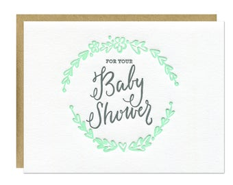 Baby Shower Card / Mint Laurel with Gray Calligraphy / Letterpress Printed / Blank Inside