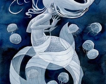 Jellyfish Mermaid print - 8x10 or 11x14