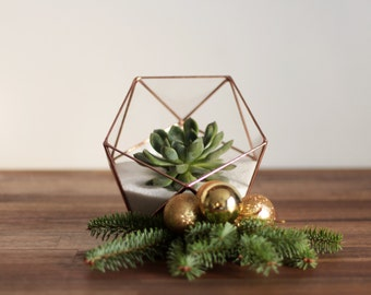 Geometric Glass Terrarium Container, Copper Wedding Centerpiece, Plant Lovers Gift, Father's Day Gift, Succulent Planter, Candle Holder