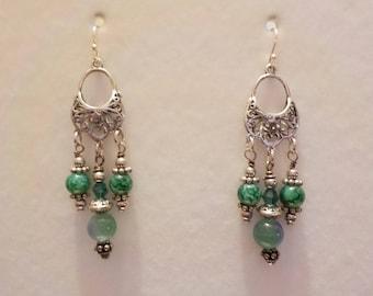 Green Swarovski Crystal and Czech Glass Chandelier Earrings