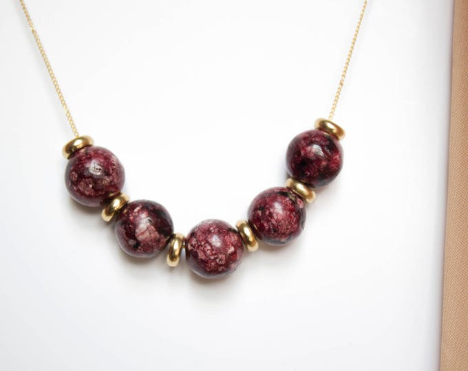 Speckled Maroon Jade and Brass Necklace