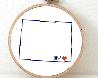 WYOMING Map Cross Stitch Pattern. Wyoming art pattern with Cheyenne. Wyoming state ornament pattern. WV decor. Wedding gift.