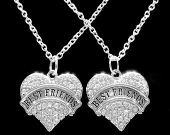 Best Friend Gift, Best Friend Necklace, Crystal Heart Best Friend Gift For Friends Charm Necklace Set