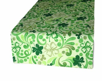 Green Clover Table Runner, St. Patrick's Table Runner, Green Floral Table Runner, Clover Table Linens, Table Runner and Matching Napkins