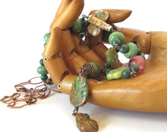 SPRING in the GARDEN jewelry, long stone necklace, gift for gardener jewelry, frog and dragonfly necklace