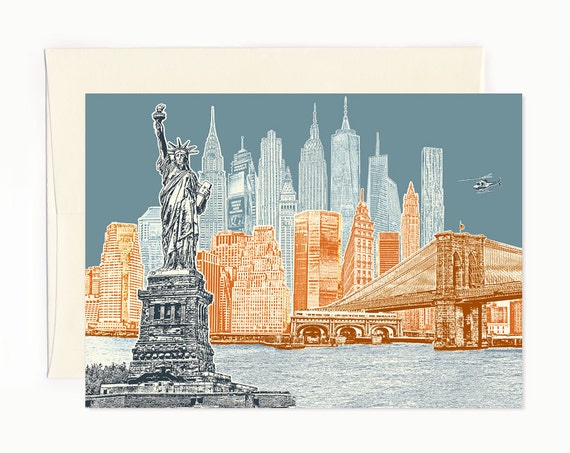 ON SALE!! -- New York City Skyline Notecard - full color - New York - folded Greeting Card