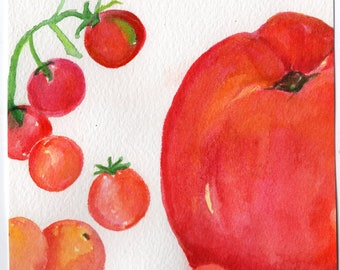 Tomatoes watercolor painting original art 4 x 6 kitchen, food wall art, farmers market produce, SharonFosterArt Farmhouse decor