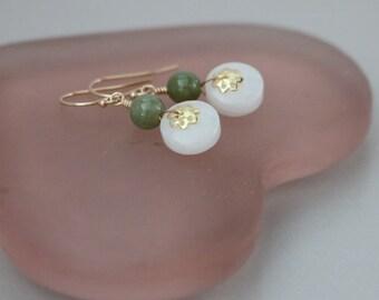 Jade Earrings, White and Dark Green Jade Gold Filled/ Gold Vermeil Earrings, Carved Jade Earrings, Jade Jewelry, Chinese Jade Earrings
