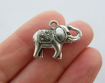 BULK 30 Elephant charms antique silver tone A613