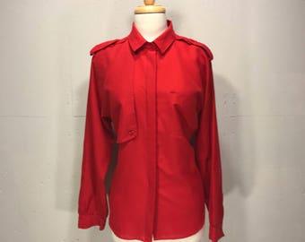 80s Diane Von Fursternberg red military style blouse retro DVB blouse with