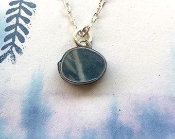 cyanotype blue palo verde leaf botanical pendant necklace