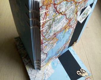 Travel notebook, sketchbook, sketchbook, map world map decor