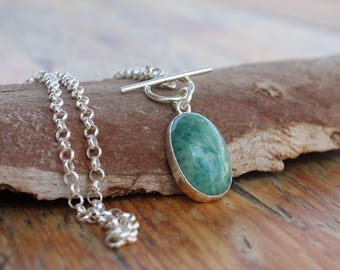 Amazonite necklace,amazonite stone necklace, Amazonite silver pendant, amazonite jewelry, blue amazonite gemstone necklace, silver chain