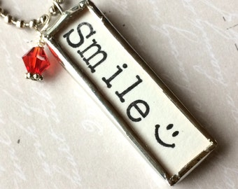 Smile Necklace, Word Jewelry, Emoji Charm