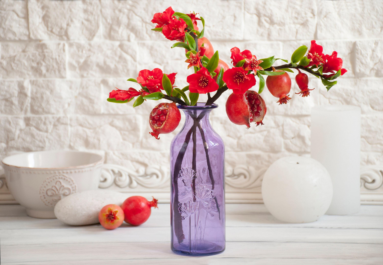 Pomegranate tree floral accents garnet red fake flower bouquet 8500 izmirmasajfo