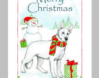 German Shepherd Dog White, Christmas Card Box of 16 Cards & Envelopes