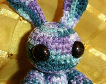 "steammas special, ""clockwork""teal and purple bunny acrylic"