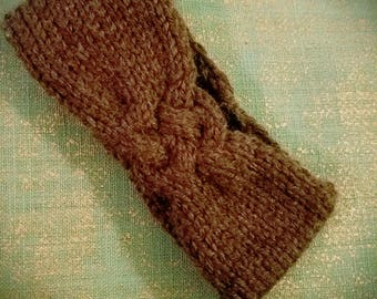 Baby / infant knitted cable headband brown