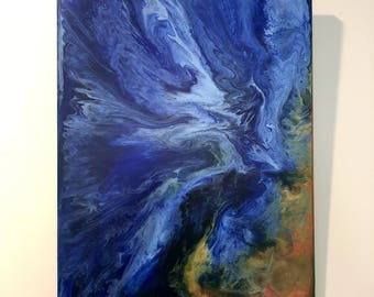 Bold abstract fluid painting