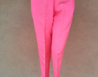 Vintage 1960s Pants Cigarette 60s Slacks Hot Pink Silk US8 W27