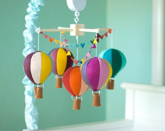 Hot Air Balloon baby mobile, Travel Theme Nursery Mobile, custom colors baby crib mobile