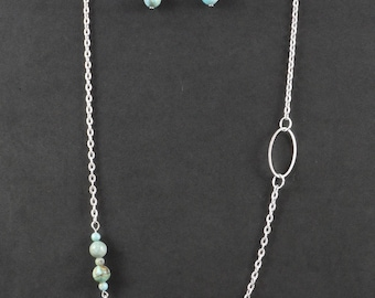 Asymmetrical Chinese Larimar Matching Earrings and Necklace Set