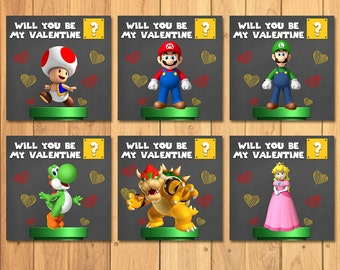 Super Mario Brothers Valentine's Day Cards Chalkboard Value Pack * Mario Brothers Valentines * Super Mario Brothers Favors