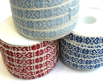 """1 m Woven Ribbon """"Heart of Sweden"""" 10 mm w 100 % cotton from Sweden"""
