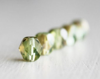 25 Chrysolite Celsian 6mm Faceted Czech Glass Beads, Fire Polished Beads, 6mm Glass Beads