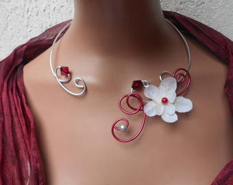 Necklace for bride - floral necklace for bride - red white and silver