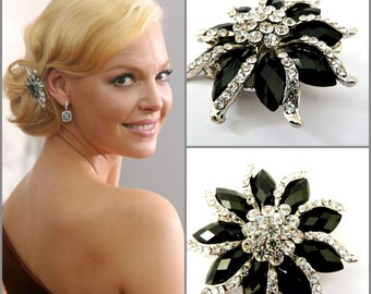 Celebrity Black Flower Rhinestone Hair Clip,Black & Crystal Bridal Flower Hair Clip,Wedding Hair Clip,Hair jewelry headpiece Celebrity Style