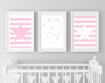 Pink Star Nursery Art Digital Printable, Star Print, Pink Star, Pink Nursery Star Prints, Pink Stripes Nursery Prints, Star Print Picture