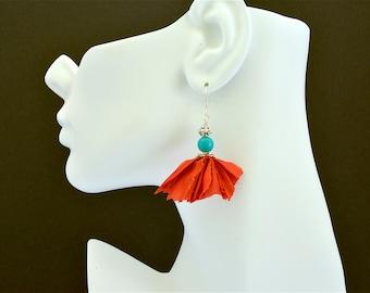 Sari silk ribbon and turquoise boho chic earrings