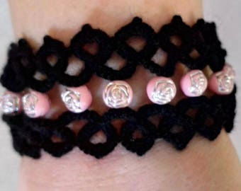 Black Victorian Style Tatted Bracelet with Pink Rose Bead Accents