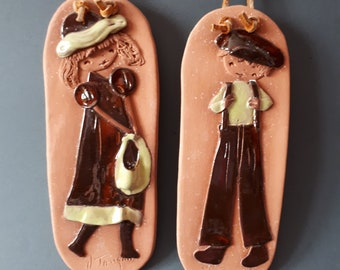 Vintage couple in Terra-cotta, Mid century terracota boy and girl boy and girl