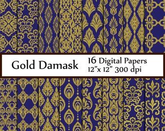 """Blue Damasks paper: """"GOLD DIGITAL PAPER"""" Blue gold papers Printable textured paper Damask Pattern Damask Paper Blue Graduation Backdrops"""