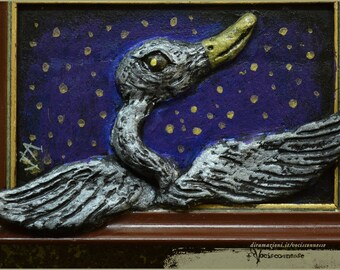 Silver Swan / Cigno d'argento OOAK mixed media artwork sculpture painting - Artwork painting sculpt