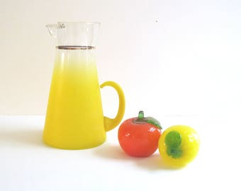 Mid Century Blendo Yellow Glass Pitcher