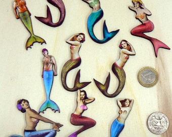 Mermaids and mermen wood cut outs, die cuts