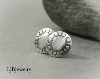 Sterling Silver Studs, Silver Stud Earrings, Silver Earrings, Sun Earrings, Silver Jewelry,  Metalsmith, Metalwork, Handmade, Art Jewelry