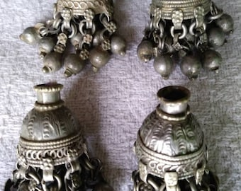 Vintage Rajasthan Indian Tribal Silver Amulet, Ethnic Dangle Bells, Set of 4 Boho Tribal Amulet Accessories, Gypsy Hippie Jewelry Supplies