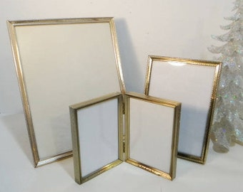 3 Vintage Gold Metal Frames Mid Century Double Picture Photo Frames Easel Table Top Mantel Hanging Frames