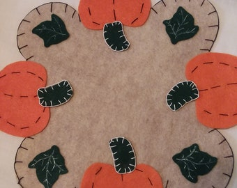 Autumn Pumpkin Candle Mat, Penny Rug or Home Decor