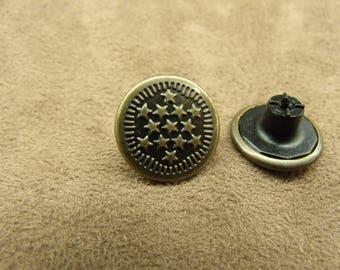 DENIM button - 17 mm - bronze star