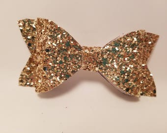 Sparkly Gold Faux Leather Hair Bow