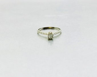 White Gold Diamond Engagement Ring, Antique Diamond Engagement Ring, Engagement Ring, 18 Karat White Gold Diamond Edwardian Engagement Ring