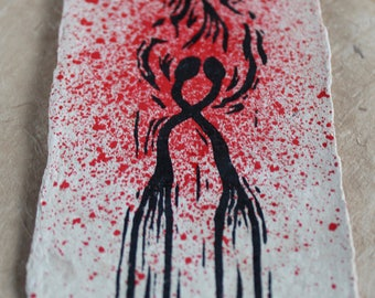 Burning (Hand Coloured) - a hand finished linocut on handmade Bhutanese Paper - Signed, Numbered Edition of 21
