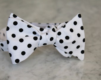 Men's white and black polka dot bow tie - clip on, pre-tied with strap, self tying