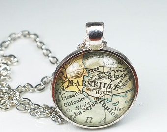 Marseille Map Necklace- Vintage Map Pendant Jewelry from a 1929 Atlas, France Map Necklace, Marseille Necklace, Marseille Pendant