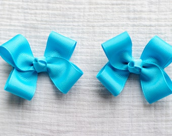 Hair Bows,Misty Turquoise Hair Bows,Pigtail Hair Bows,Alligator Clips,3 Inch Hair Bows,Non Slip,Birthday Party Favors